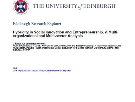 Hybridity in Social Innovation and Entrepreneurship. A Multi-organizational and Multi-sector Analysis